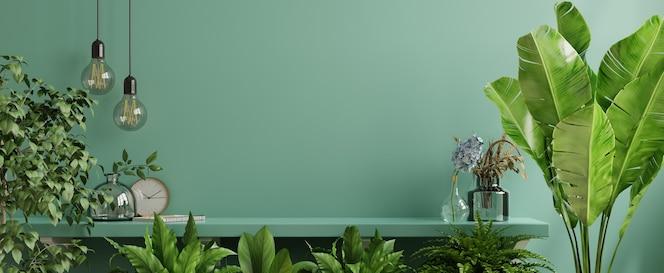 Ściana wewnętrzna z zieloną rośliną i półką. renderowanie 3d