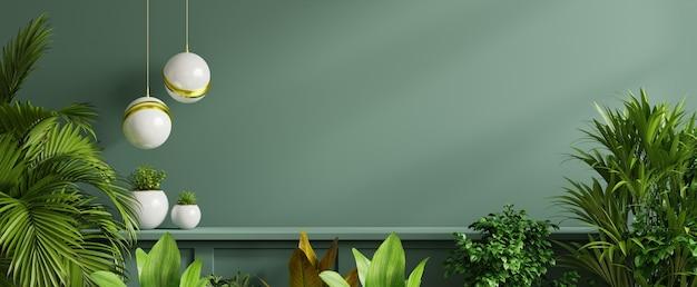 Ściana wewnętrzna z zieloną rośliną, zieloną ścianą i półką. renderowania 3d
