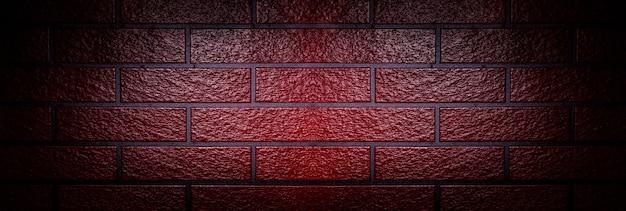Ściana z czerwonej cegły, panoramiczny obraz makiety z miejscem na tekst