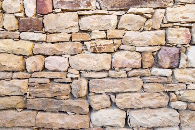 Ściana z kamieni o różnych rozmiarach, faktura.