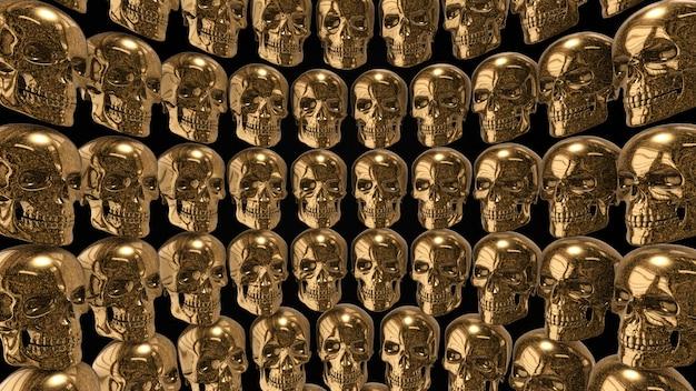 Ściana ze złotych czaszek