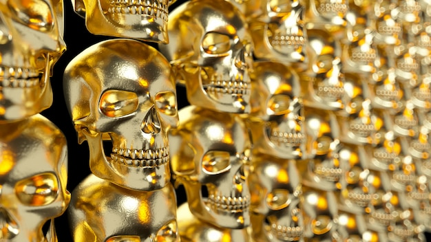 Ściana ze złotymi teksturowanymi czaszkami