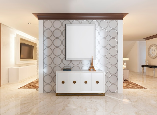 Ścianka wewnętrzna w przedpokoju i skrzynia urządzona w stylu art deco. na ścianie biały plakat makieta. renderowania 3d.
