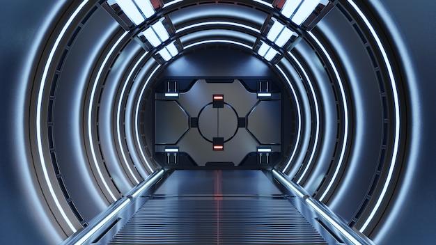 Science fiction rendering wnętrz sci-fi statek kosmiczny korytarze niebieskie światło, renderowanie 3d