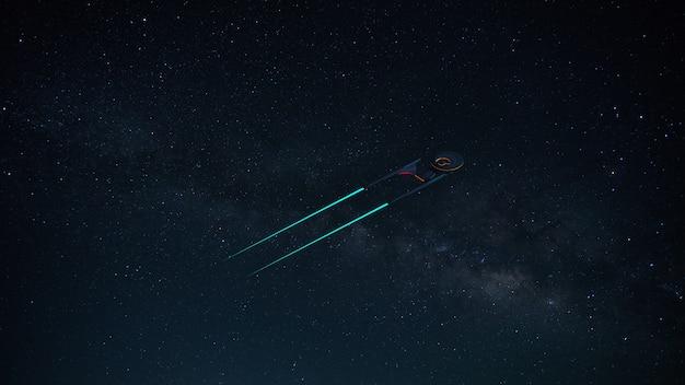 Science fikcyjny obraz statku kosmicznego w kosmosie i drodze mlecznej