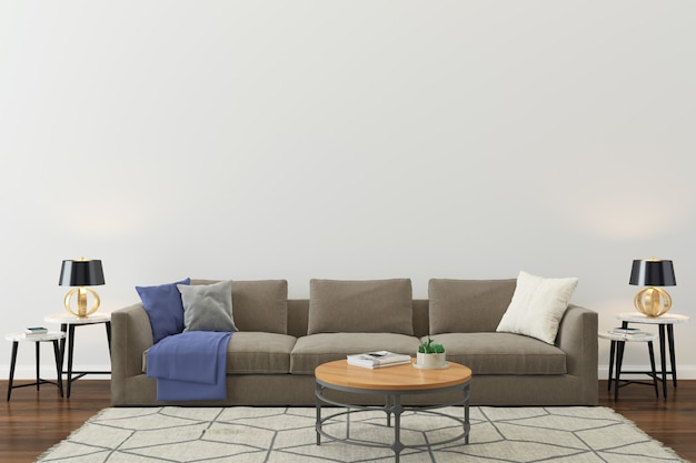 Ścienna tekstura tło drewniana podłoga jasnobrązowa kanapa