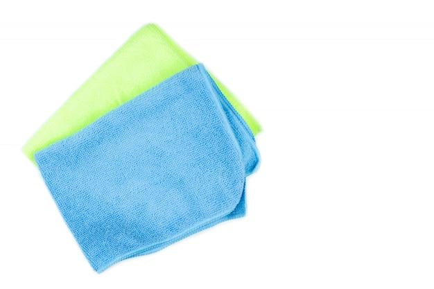 Ściereczka z mikrofibry do czyszczenia na niebiesko i zielono na pojedyncze białe