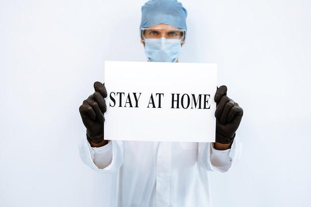 Ścieśniać. ostrzeżenie pozostać w domu w rękach lekarza.
