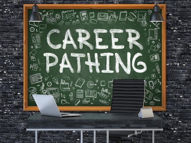 Ścieżka kariery - odręczny napis kredą na zielonej tablicy z ikonami doodle wokół. koncepcja biznesowa we wnętrzu nowoczesnego biura na tle ciemnego ceglanego muru. 3d.