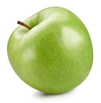 Ścieżka przycinająca jabłka. jedno zielone jabłka na białym tle.