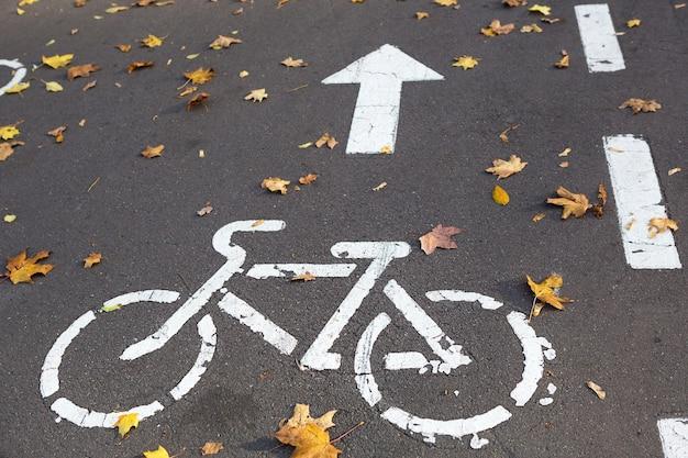 Ścieżka rowerowa z drogowskazem rowerowym i oznaczeniami narysowanymi na asfalcie. jesienna ścieżka w parku usiana jest suchymi żółtymi liśćmi klonu. jesienią na rowerze, przepisy ruchu drogowego