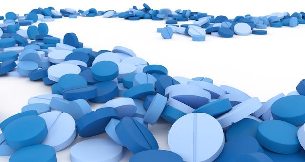 Ścieżka wypełniona niebieskimi pigułkami na białym tle, ilustracji 3d