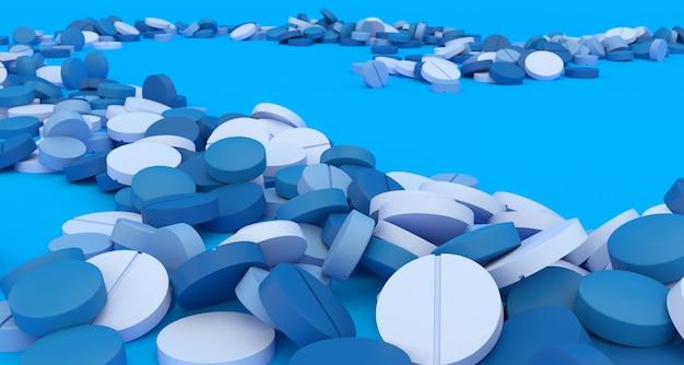 Ścieżka wypełniona niebieskimi pigułkami na niebieskim tle, ilustracji 3d