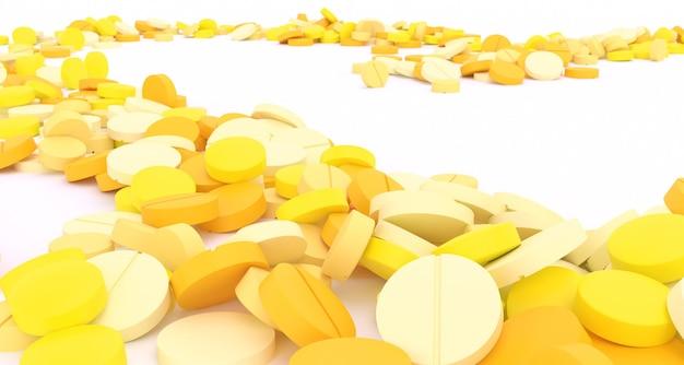 Ścieżka wypełniona żółtymi pigułkami na białym tle, ilustracji 3d