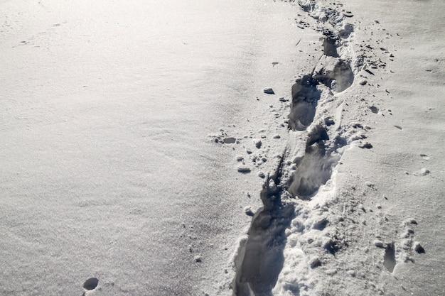 Ścieżka z odciskami stopy w śniegu w zimie