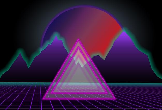 Scifi czarne tło z czerwonym zachodem słońca za fioletowymi górami i trójkątem