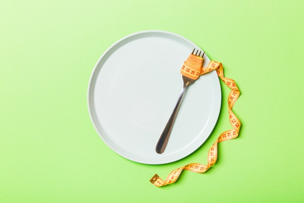 Ścisła koncepcja diety z pustą przestrzenią dla twojego projektu.