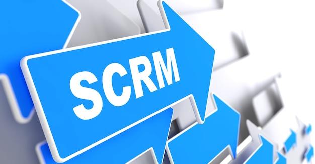 """Scrm. koncepcja technologii informacyjnej. blue arrow z hasłem """"scrm"""". renderowanie 3d."""