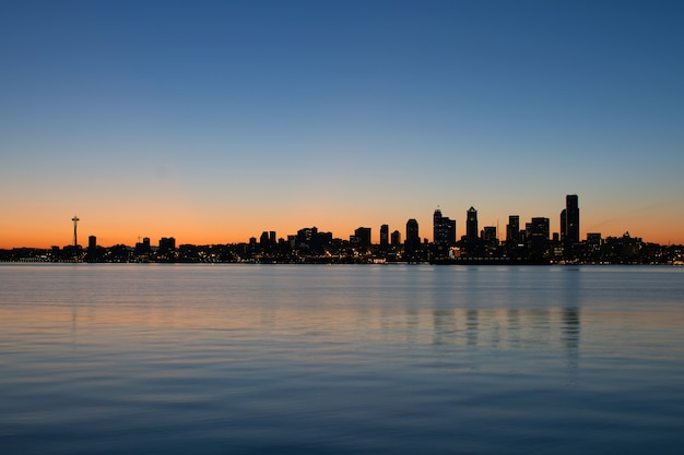 Seattle washington waterfront skyline w sunrise panorama