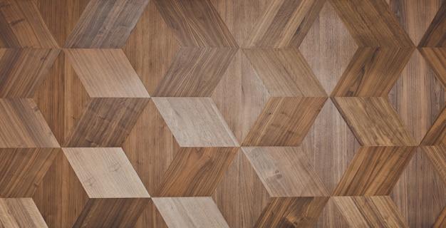 Secesyjna ściana wykonana z trójwymiarowych drewnianych klocków.