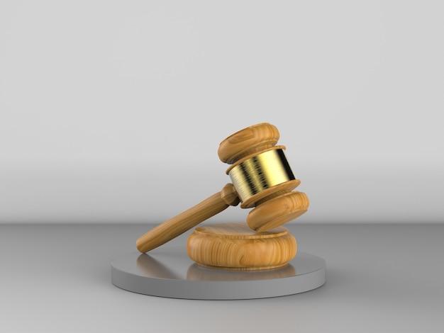 Sędzia młotkowy renderowania 3d na szarym tle
