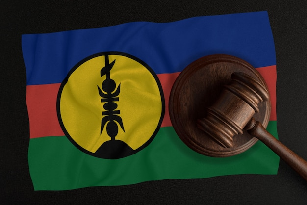 Sędziowie młotek i flaga nowej kaledonii. prawo i sprawiedliwość. prawo konstytucyjne.