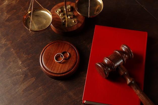 Sędziowie młotek na książce i pierścieniach