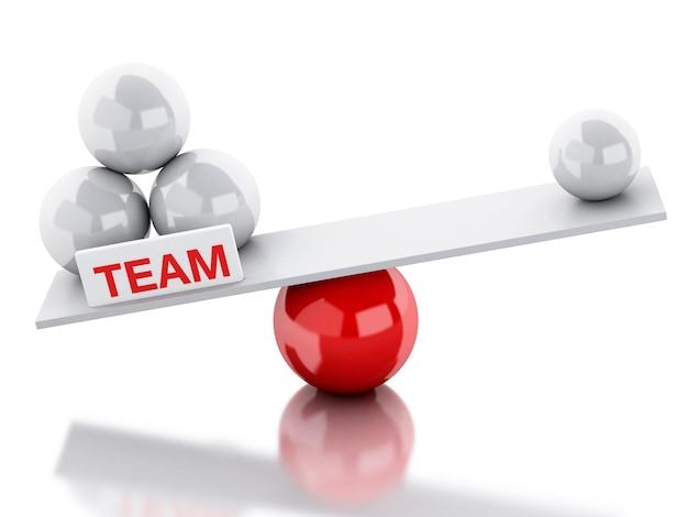 Seesaw równowagi pracy zespołowej i przywództwa