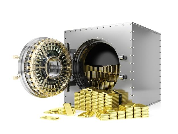 Sejf bankowy i otwarte drzwi skarbca bankowego odsłaniające złote sztabki, renderowanie 3d
