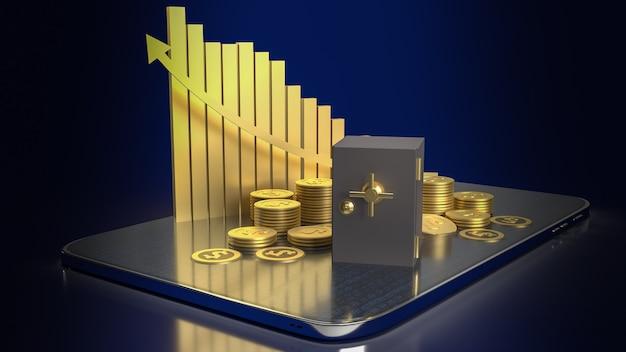 Sejf skarbca i złote monety na tablecie do renderowania 3d koncepcji biznesowej