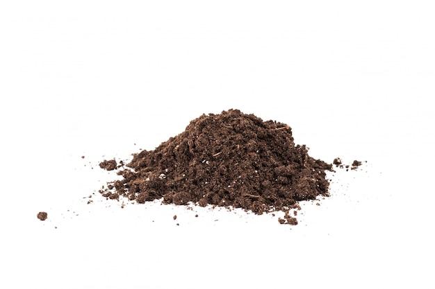 Sekcja gleby lub brudu na białym tle