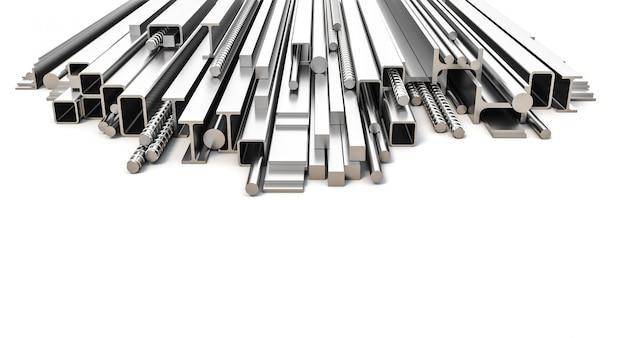 Sekcje metalowe o różnym kształcie i przekroju.
