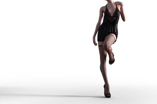Seksowna modelka 3d w czarnej koronkowej bieliźnie i pończochach. ilustrator 3d.