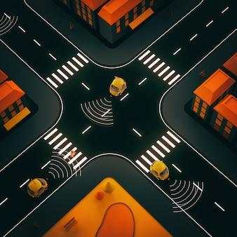 Sel-jazdy samochodami - 3d ilustracja