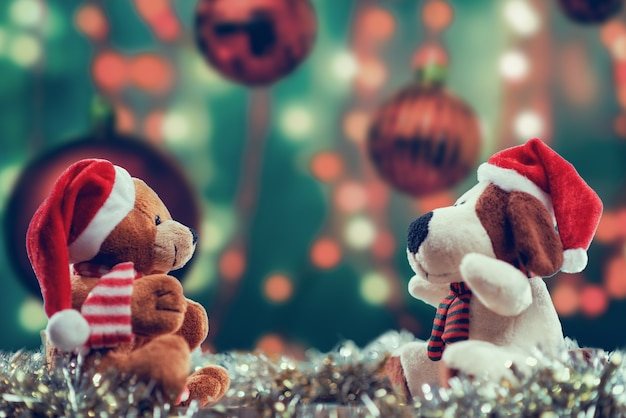 Selektywne fokus strzał lalek o tematyce bożonarodzeniowej