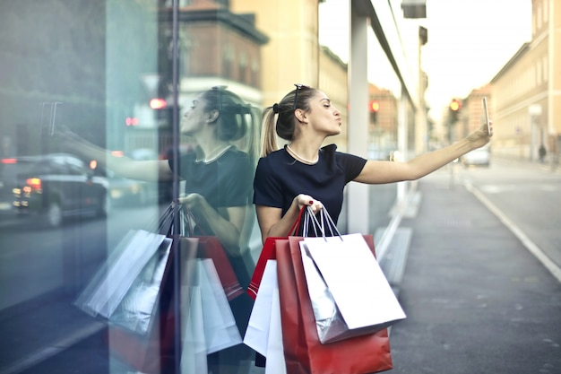 Selfie podczas wycieczki na zakupy