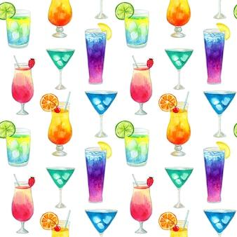 Semless wzór z różnymi kolorowymi letnimi jasnymi koktajlami z owocami. ręcznie rysowane akwarela ilustracja. tekstura do druku, tkaniny, tkaniny, tapety.