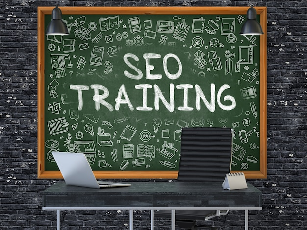 Seo - optymalizacja wyszukiwarek - szkolenie - ręcznie rysowane na zielonej tablicy w nowoczesnym miejscu pracy biurowej.