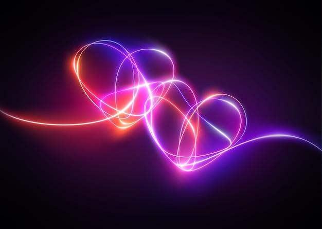 Serca z różowo-czerwonym światłem neonowym połączone razem