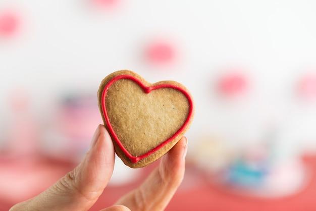 Serce ciasteczka z bliska na imprezę