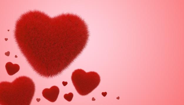 Serce czerwone futro dla koncepcji valentine, renderowania 3d.