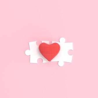 Serce i białe puzzle na białym tle na różowym tle.