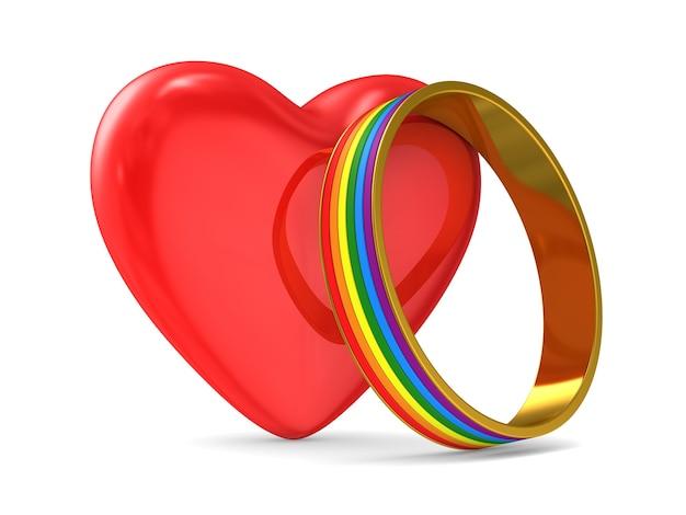 Serce i pierścień lgbt na białym tle