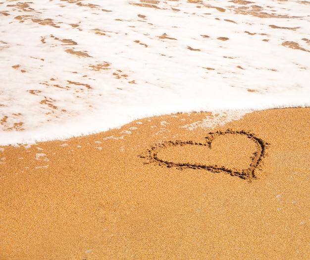 Serce na plaży.