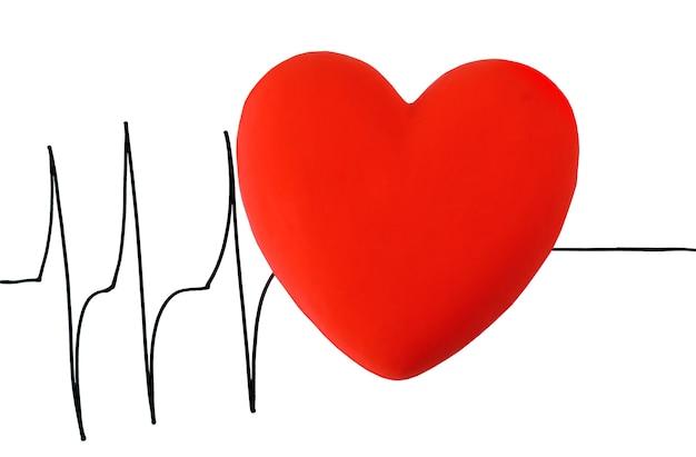 Serce na powierzchni kardiogramu, na białym tle