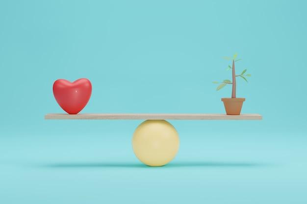 Serce vs sadzonki na łuskach. znaczenie miłości do zielonej ekologii w skali równowagi. renderowanie 3d.