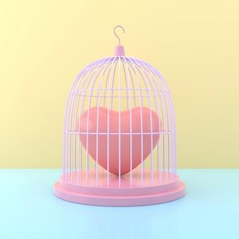 Serce w klatce dla ptaków. renderowanie 3d.
