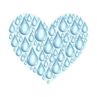 Serce z akwarela ręcznie rysowane krople wody na białej powierzchni