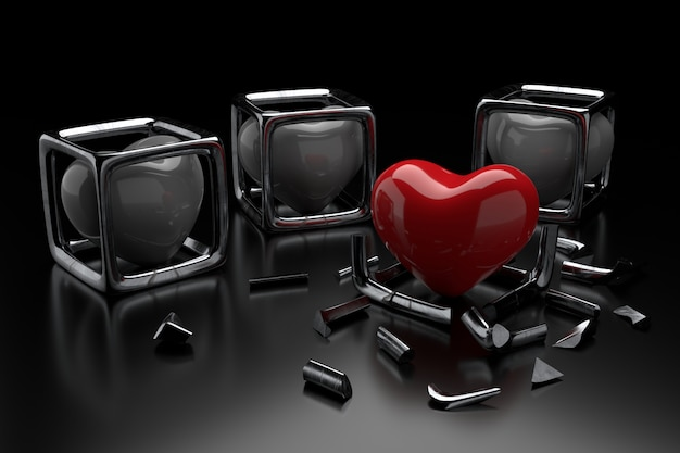 Serce z koncepcjami wolności miłości.
