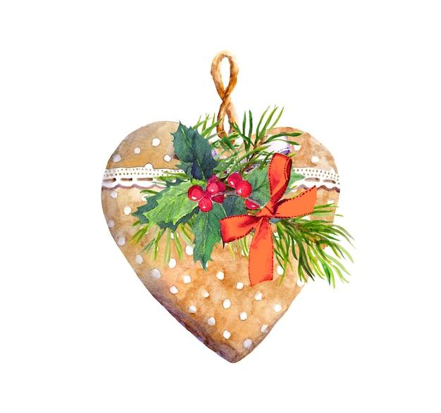 Serce z koronkową wstążką, sosną, jemiołą. boże narodzenie, nowy rok akwarela na kartkę z życzeniami